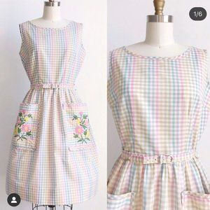 Vintage Pastel Rainbow Gingham Dress Embroidered